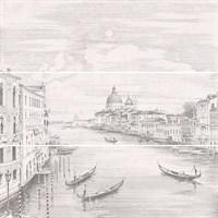 12109R/3x/3F Панно Город на воде Venice, 3 части 25х75, обрезной (размер каждой части) 75х75х9